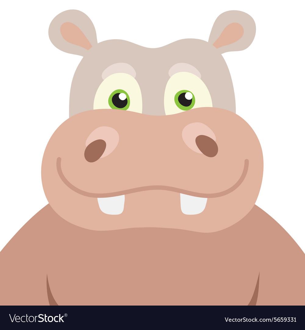 Cartoon Hippopotamus portrait vector image
