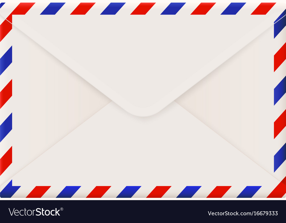 Envelope backside international air mail with red vector image
