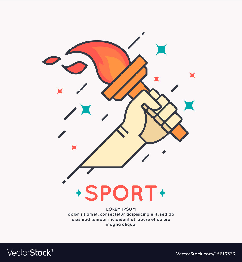 Hand with a burning torch for sports Royalty Free Vector for Sports Torch With Hand  110zmd