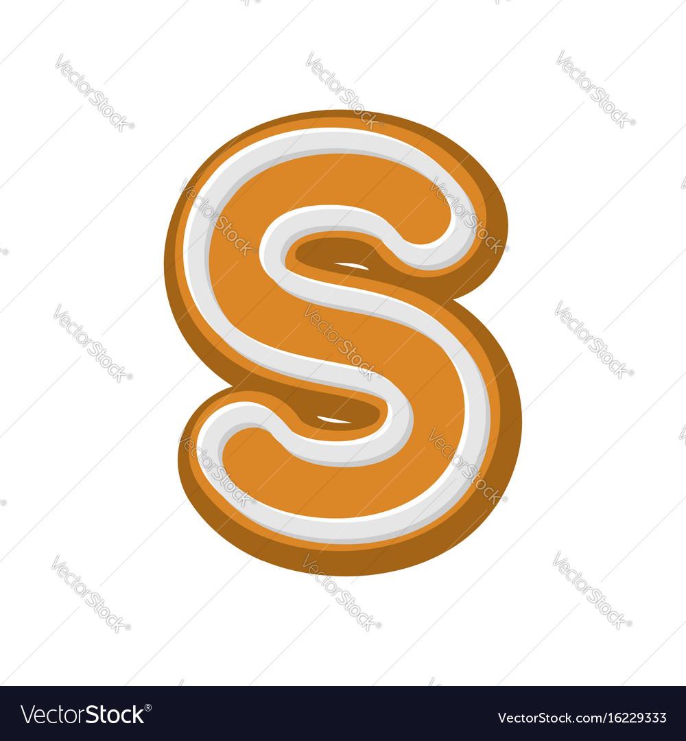 Letter v gingerbread peppermint honey-cake font vector image