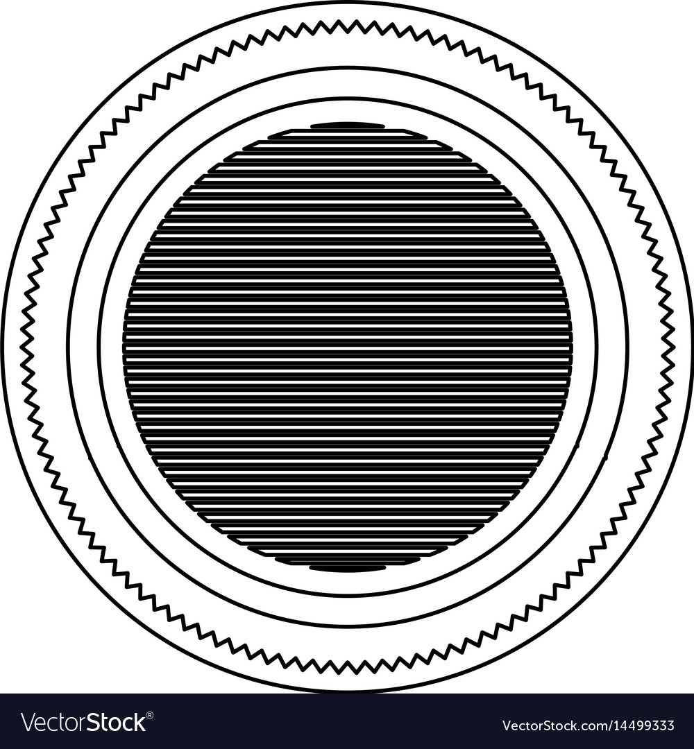 Silhouette heraldic round stamp with circles vector image