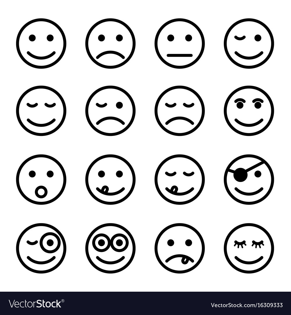 Smiley faces in black and white color set vector image