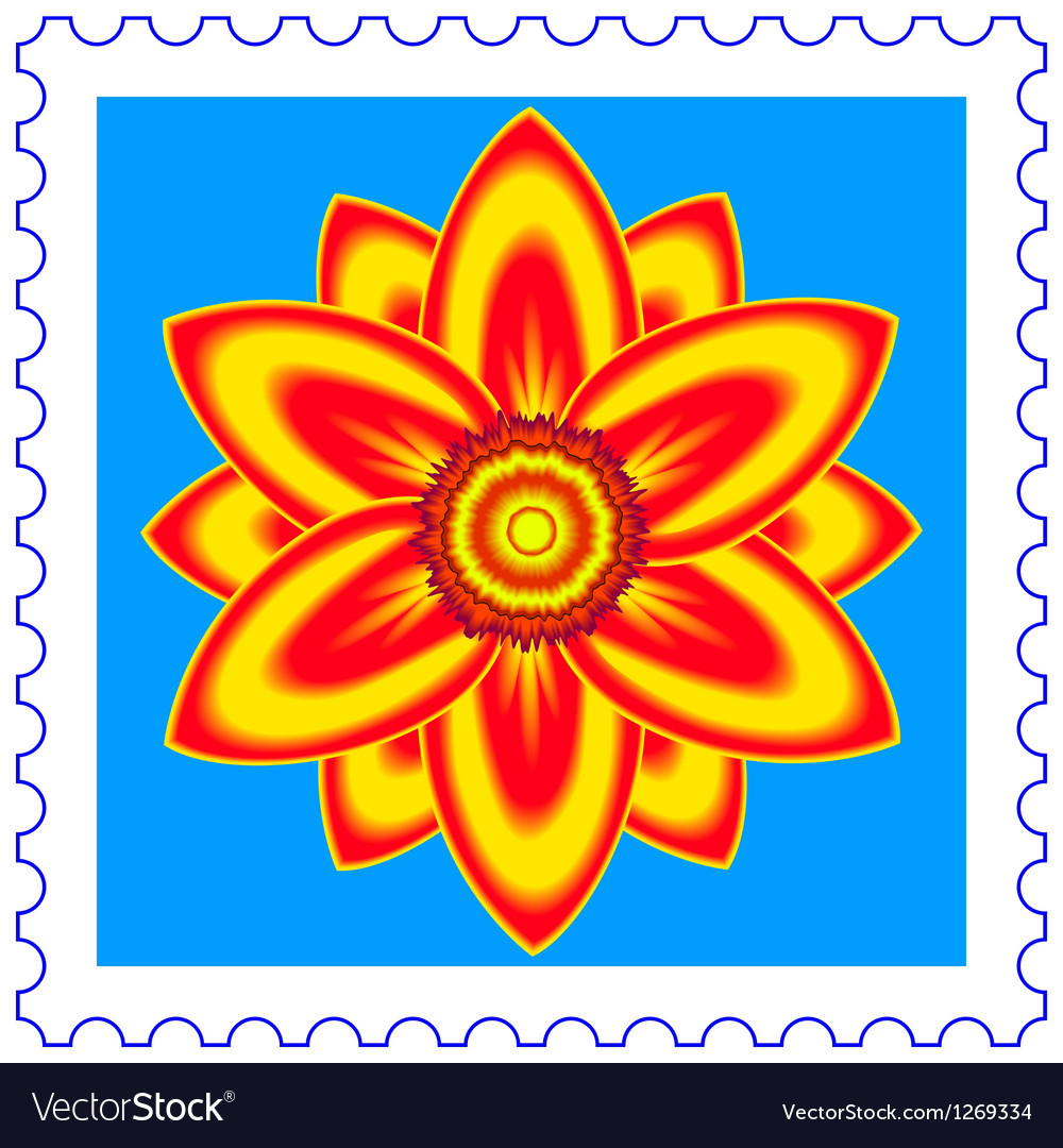 Flower stamp vector image