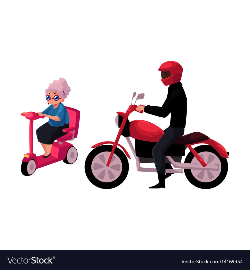 Young man riding motorcycle and old woman driving vector image