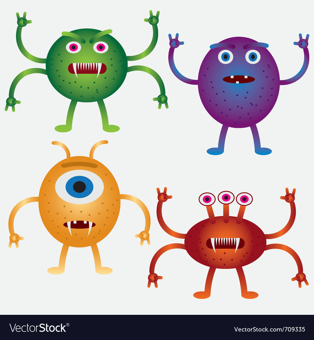 Cartoon microbes vector image