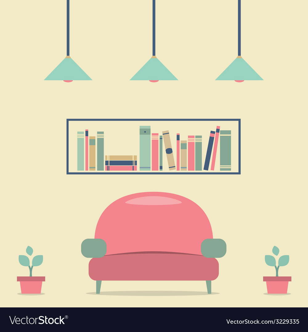 Modern Design Interior Sofa and Bookshelf vector image