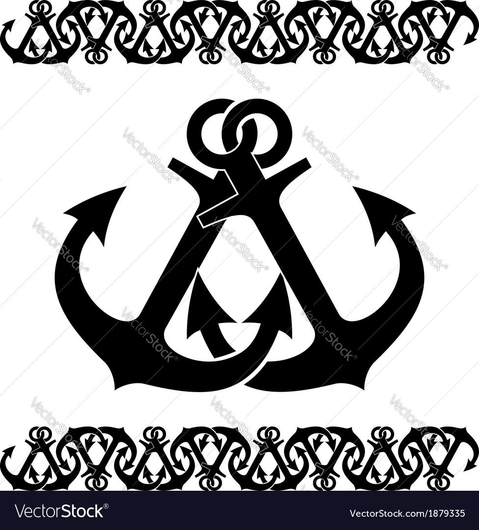 Nautical border of crossed anchors vector image