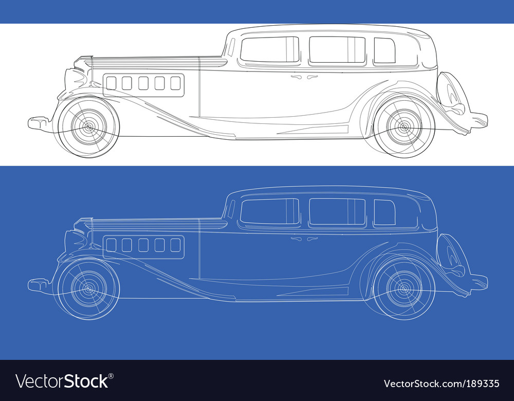 Old cars blueprints Royalty Free Vector Image - VectorStock