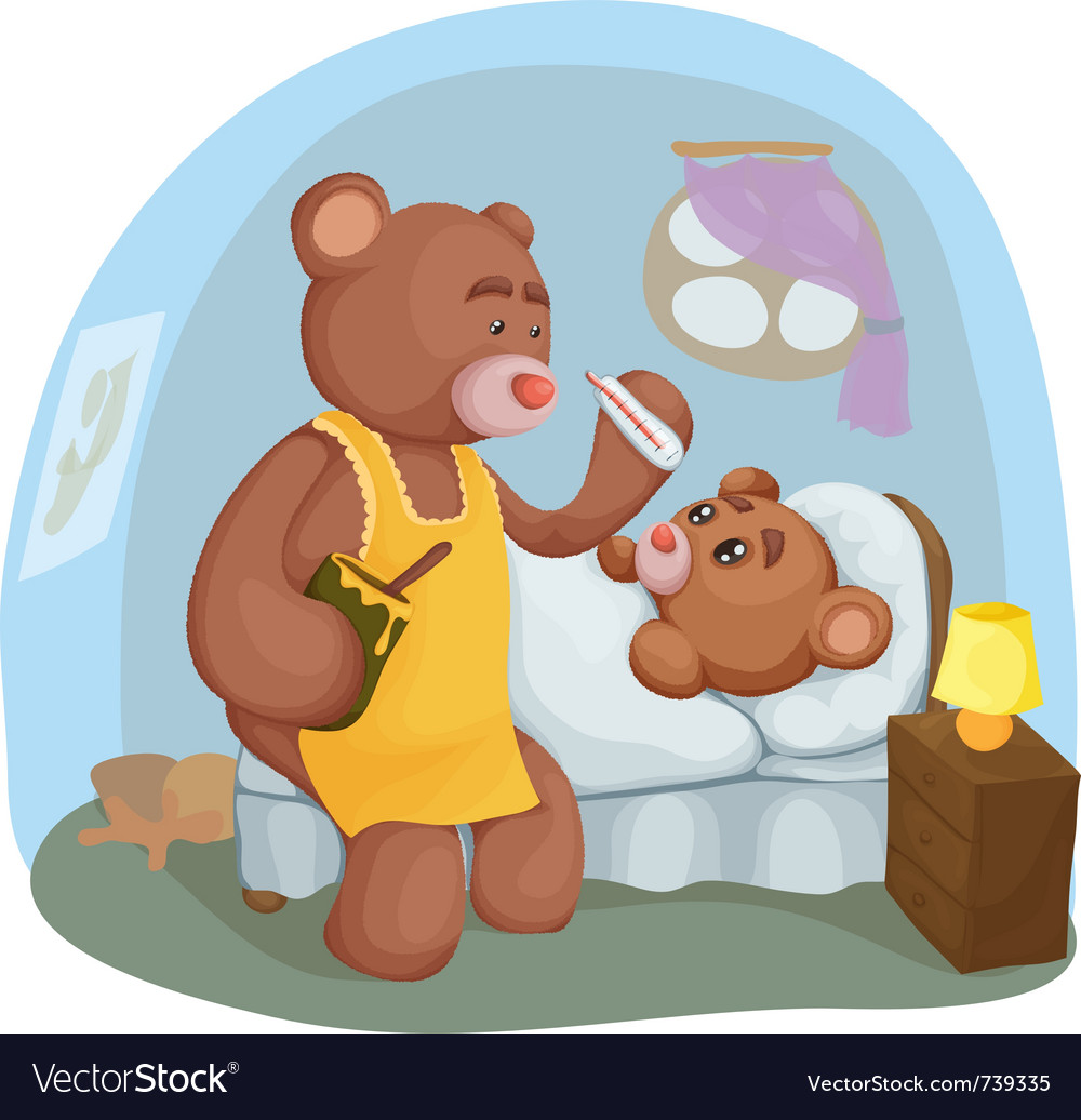 Sick teddy bear vector image