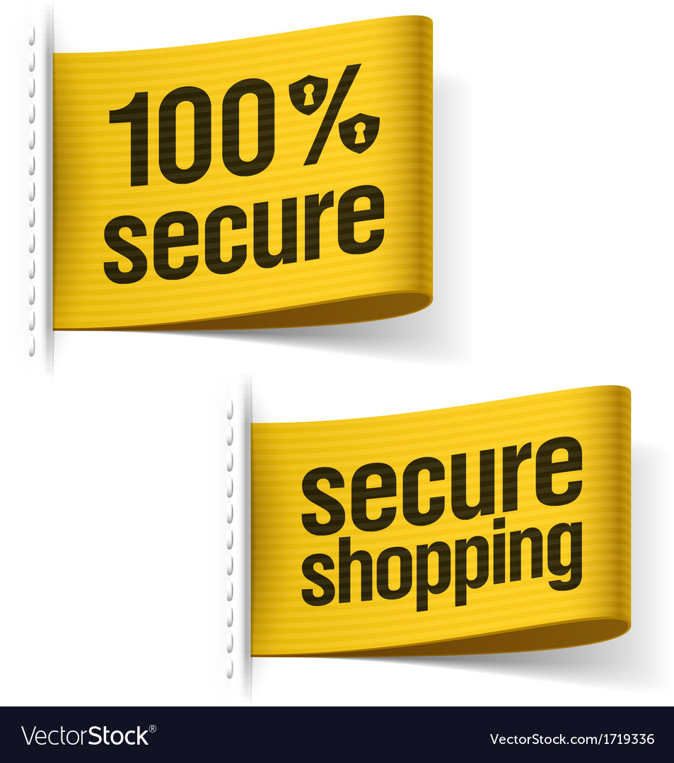 Secure shopping labels vector image
