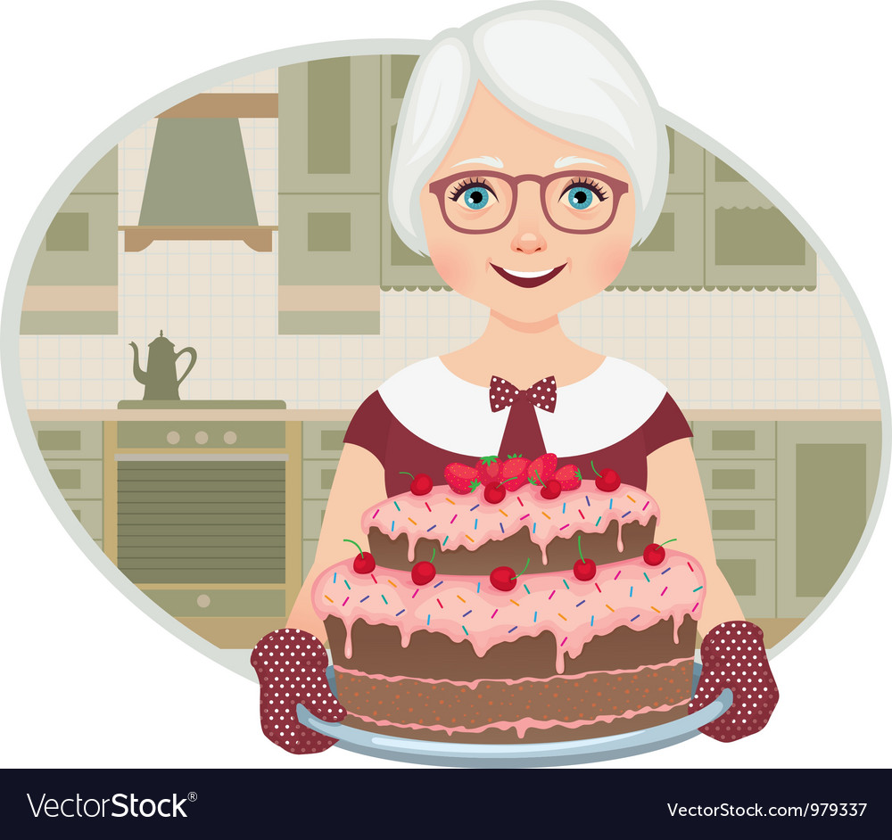Grandmother baked a cake vector image