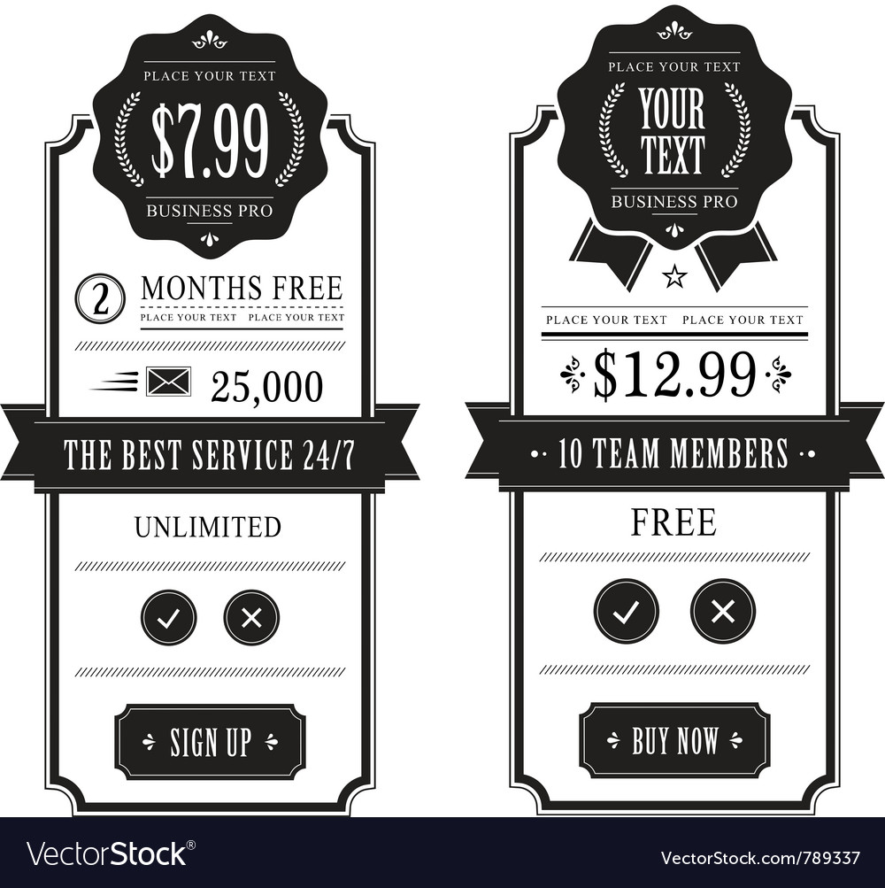 Outlined price tables vector image
