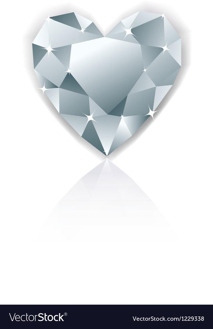Shiny heart diamond with reflection Vector Image