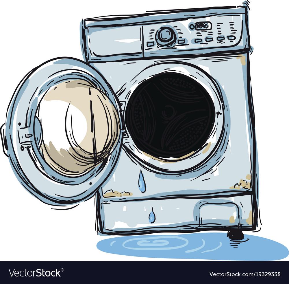 Broken washing machine Royalty Free Vector Image