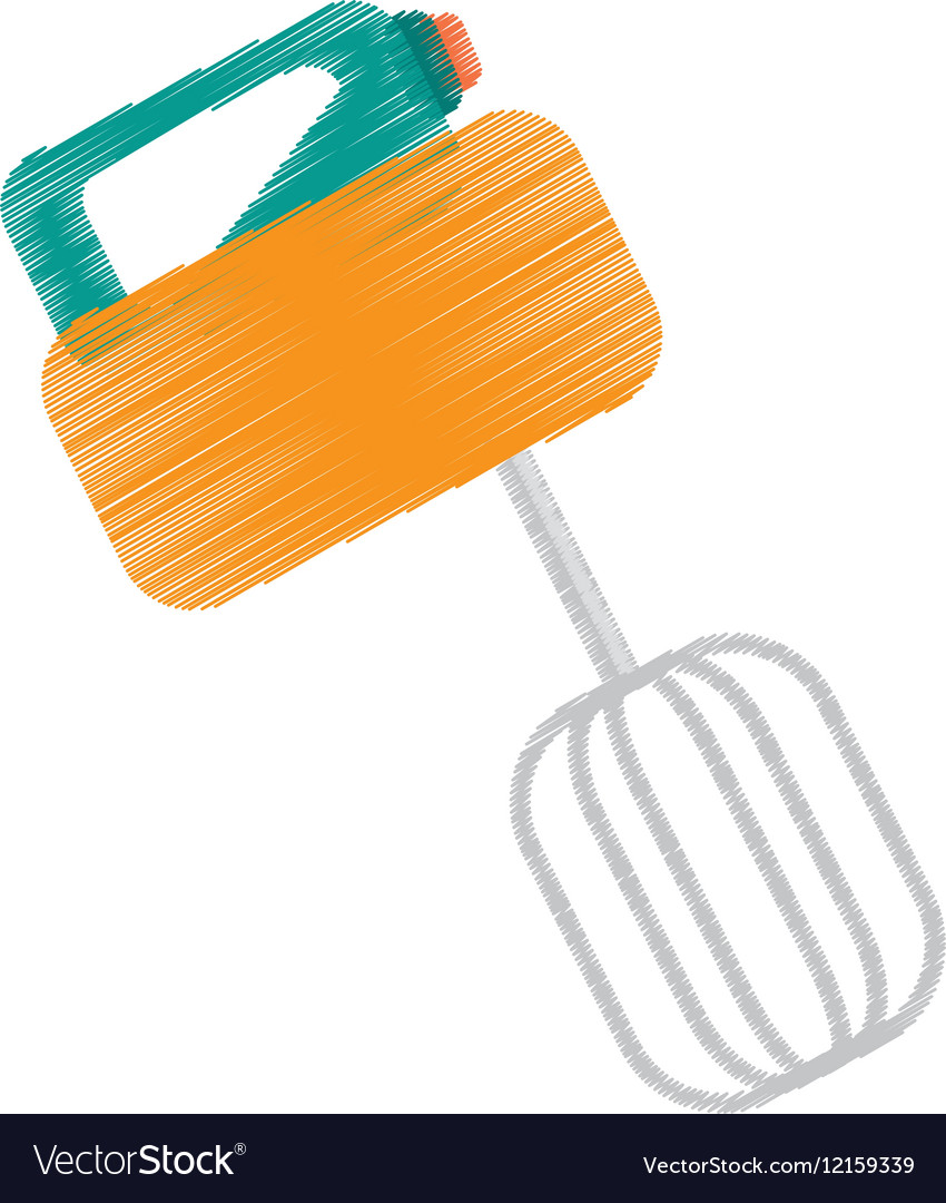 Drawing yellow electric mixer cooking kitchen vector image