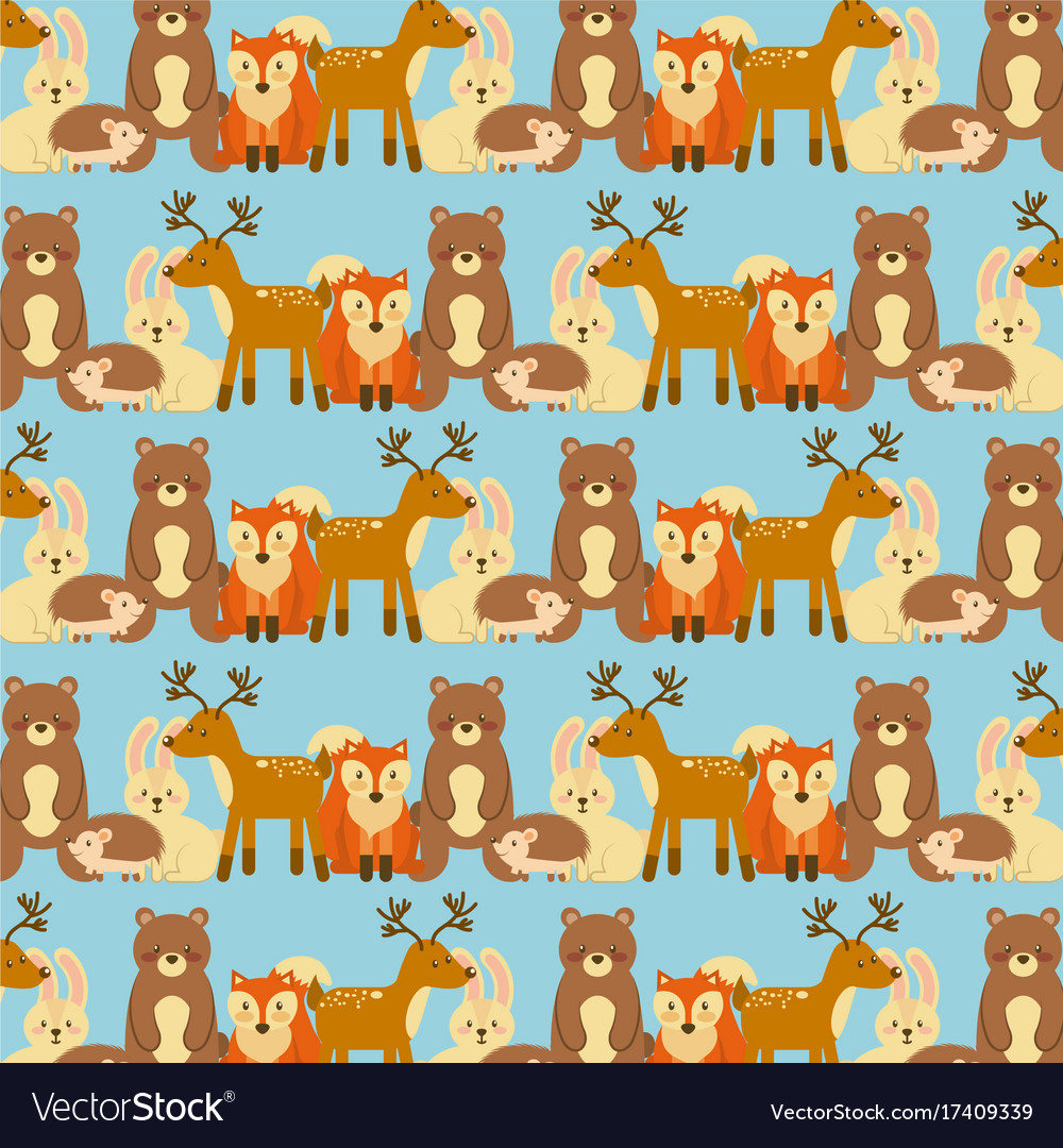 Forest animals wildlife natural seamless pattern vector image