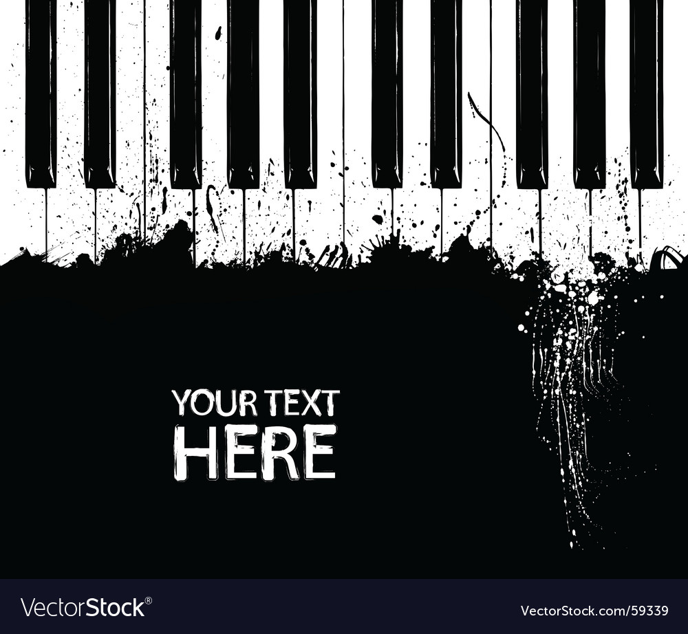 Grunge piano keys vector image