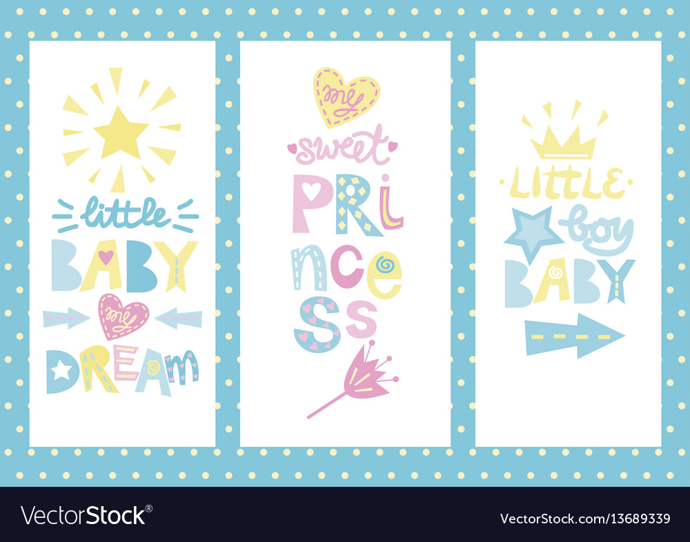 Three kids posters with labels vector image