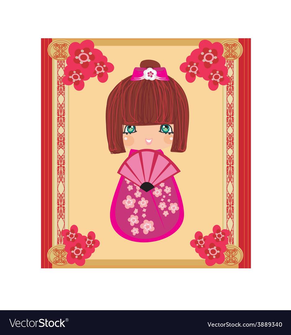 Kokeshi doll cartoon character beautiful abstract vector image