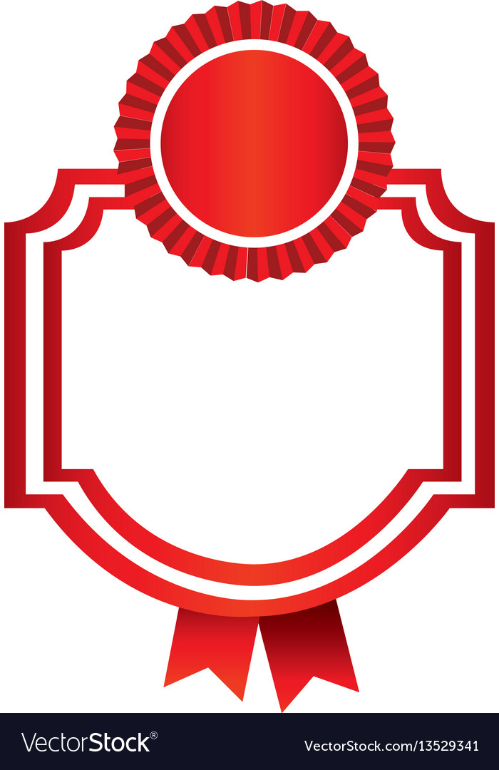 Red emblem with ribbon decoration icon vector image