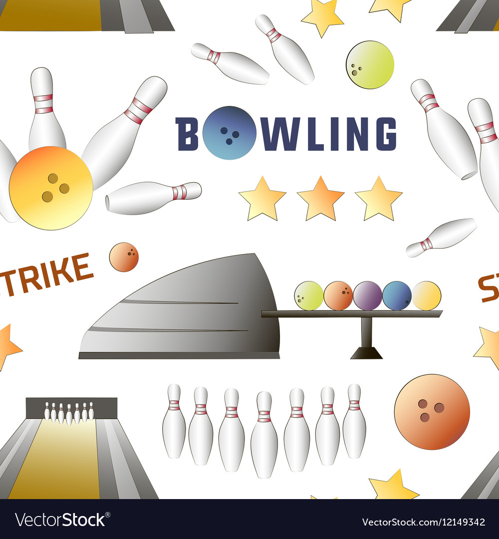 Bowling icons set pattern vector image