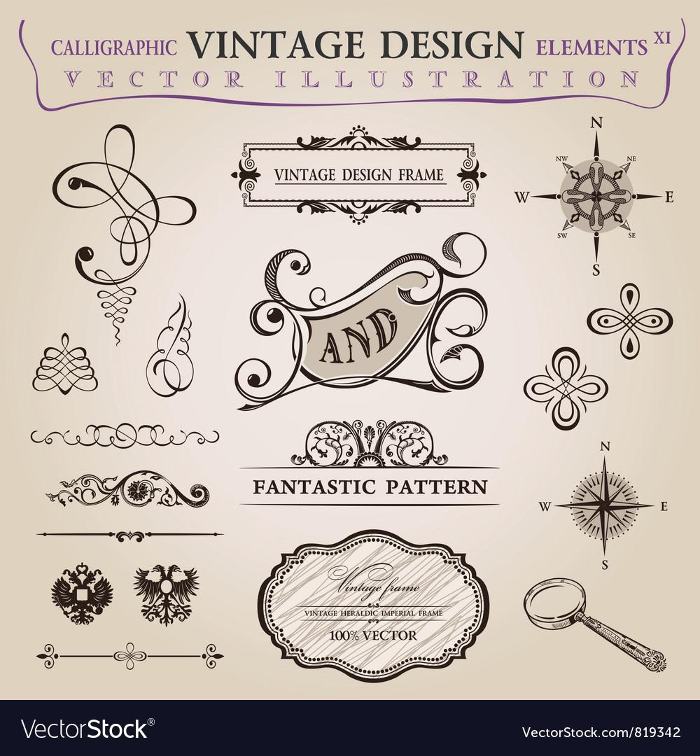 Calligraphic elements vintage vector image