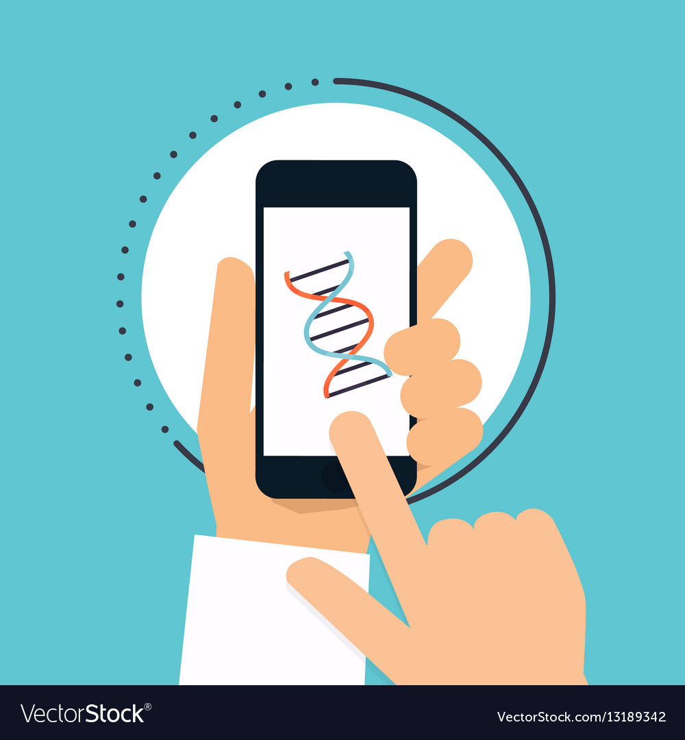 Hand holds smartphone with DNA icon on smartphone vector image