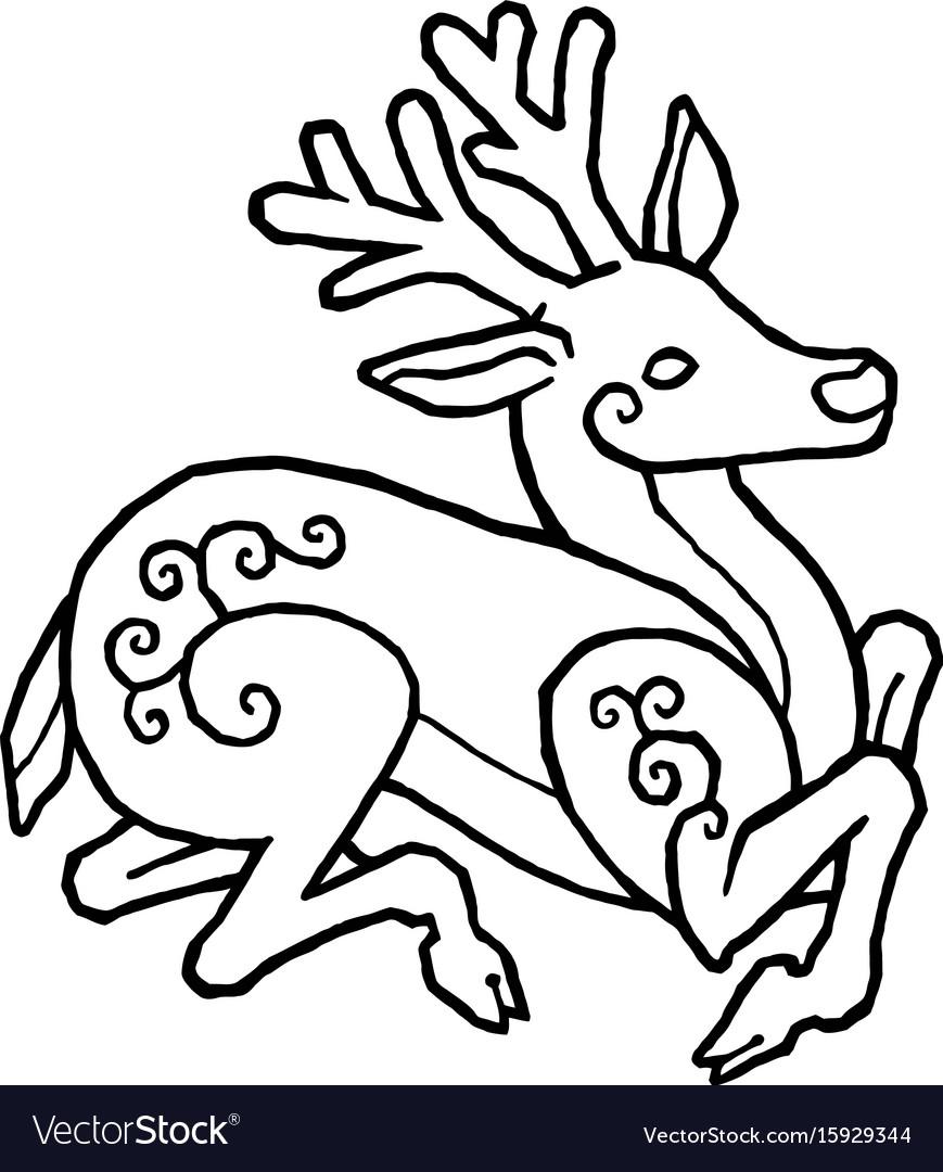 Decorative deer vector image