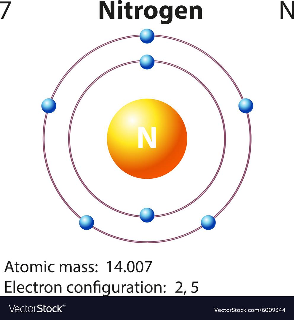 labeled diagram of hydrogen atom diagram representation of the element nitrogen vector image