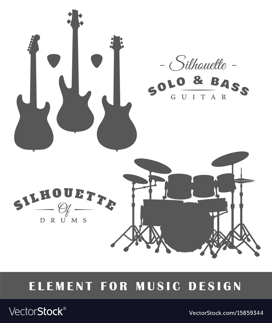 Silhouettes of guitars and drums vector image
