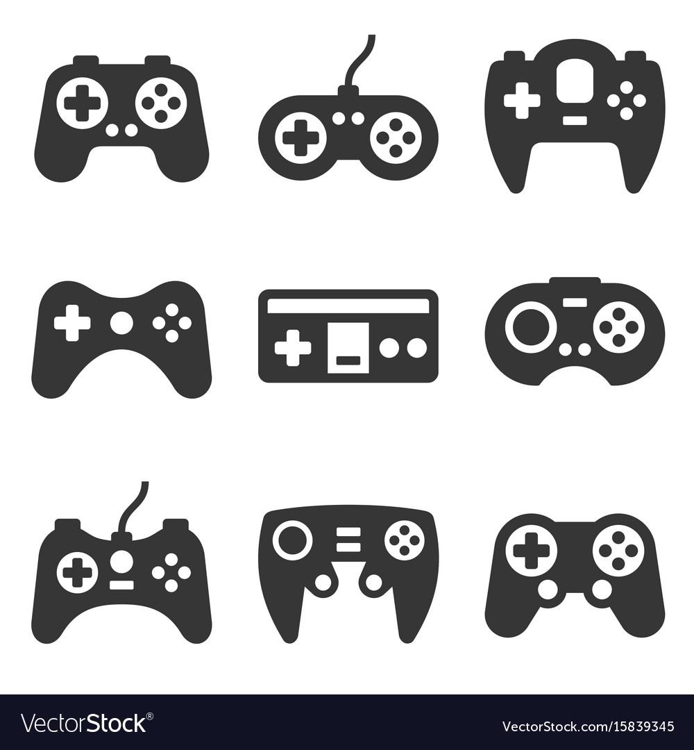 Gamepads icon set on white background vector image