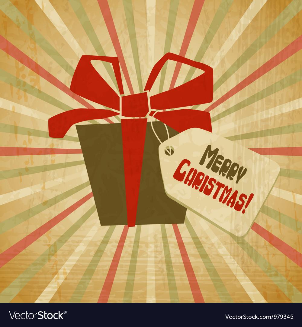 Retro Christmas Present Card vector image