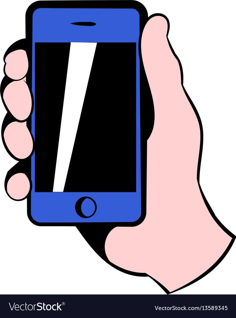 Smartphone in hand icon icon cartoon vector image