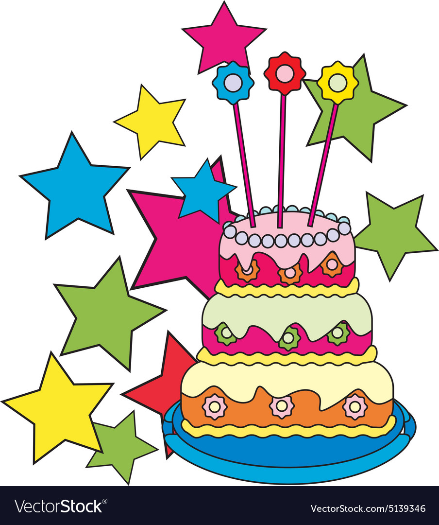 Colored-birthday-cake vector image
