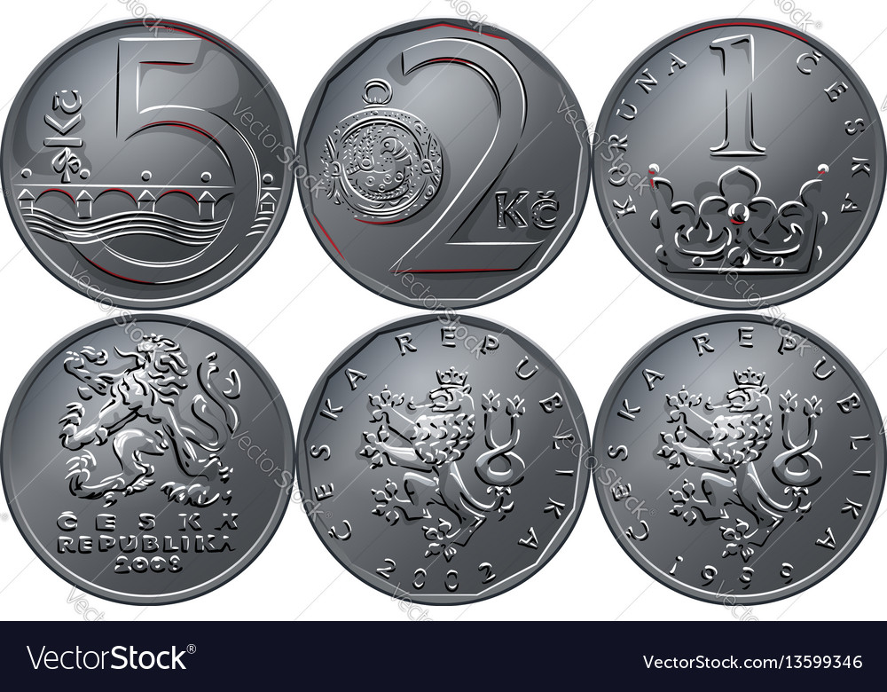 Money five czech crones coin reverse vector image