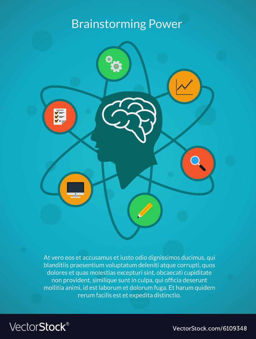 Creative brain idea and brainstorming poster vector image