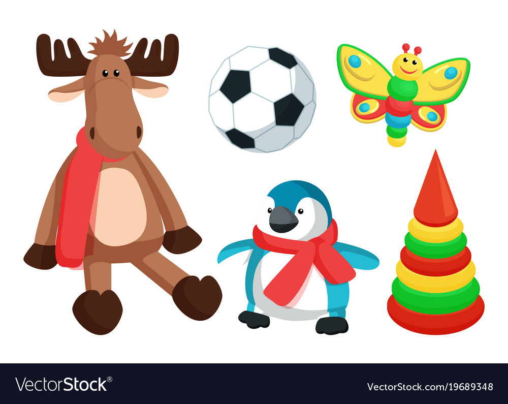 Playthings for kids from santa vector image
