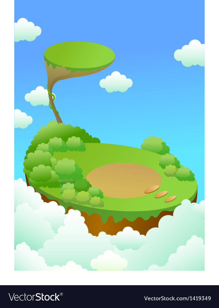 Green landscape over cliff vector image