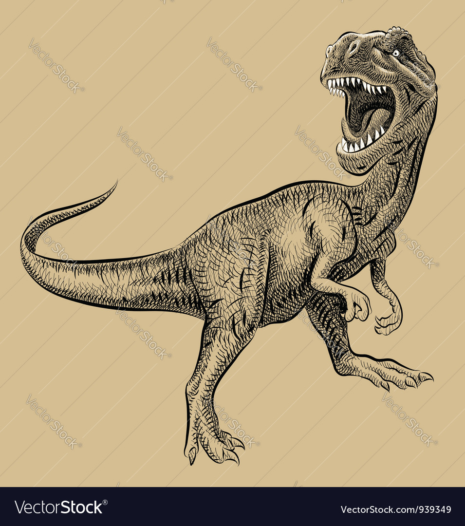 Dinosaur drawing vector image