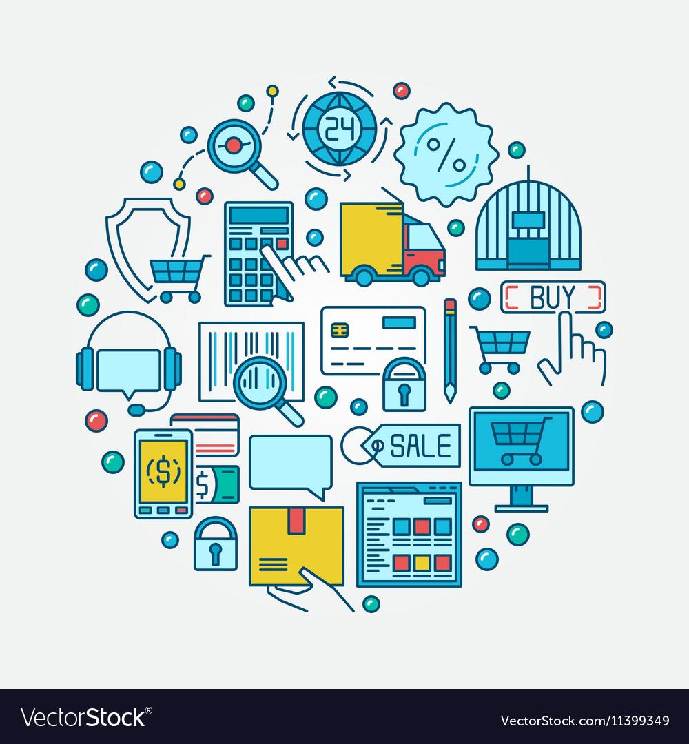 E-commerce flat round vector image