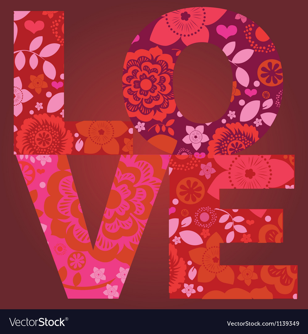 Valentine day love message floral post card vector image