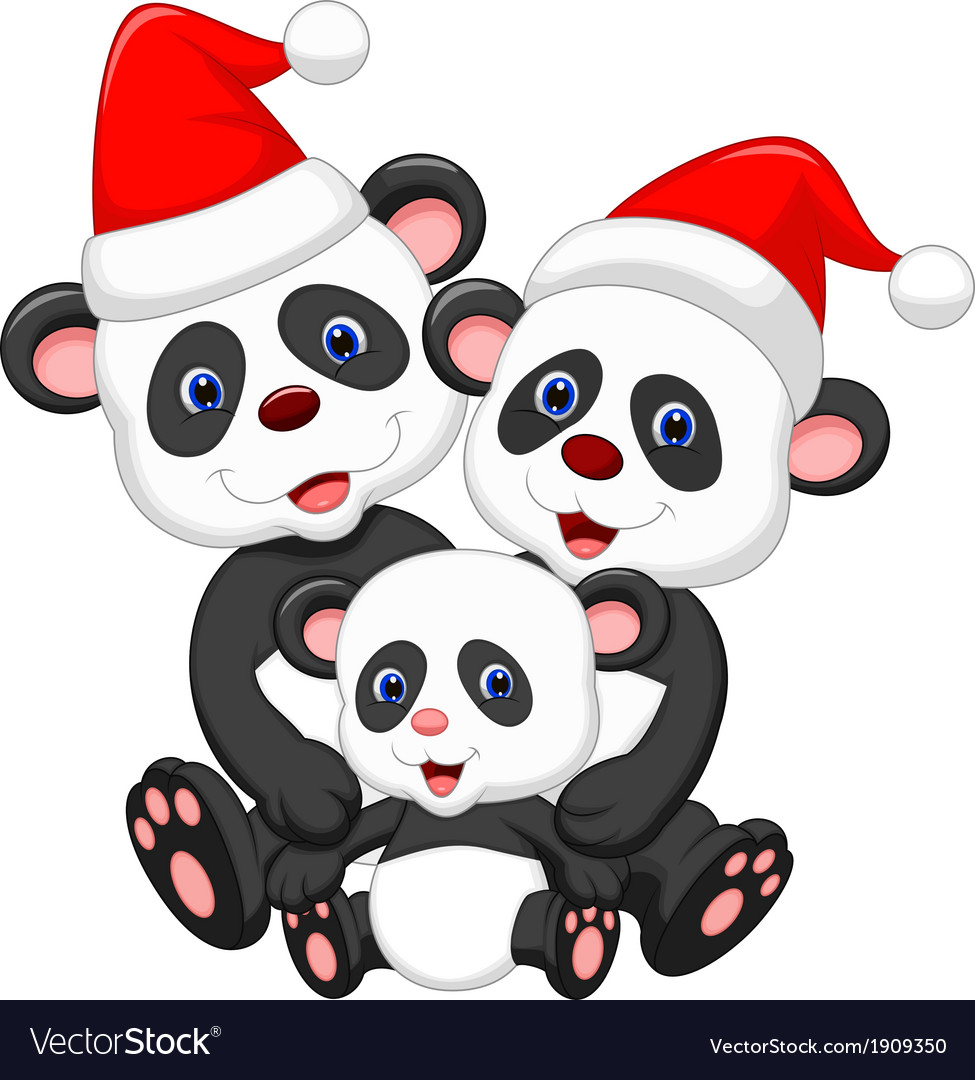 Cute panda family cartoon wearing red hat vector image