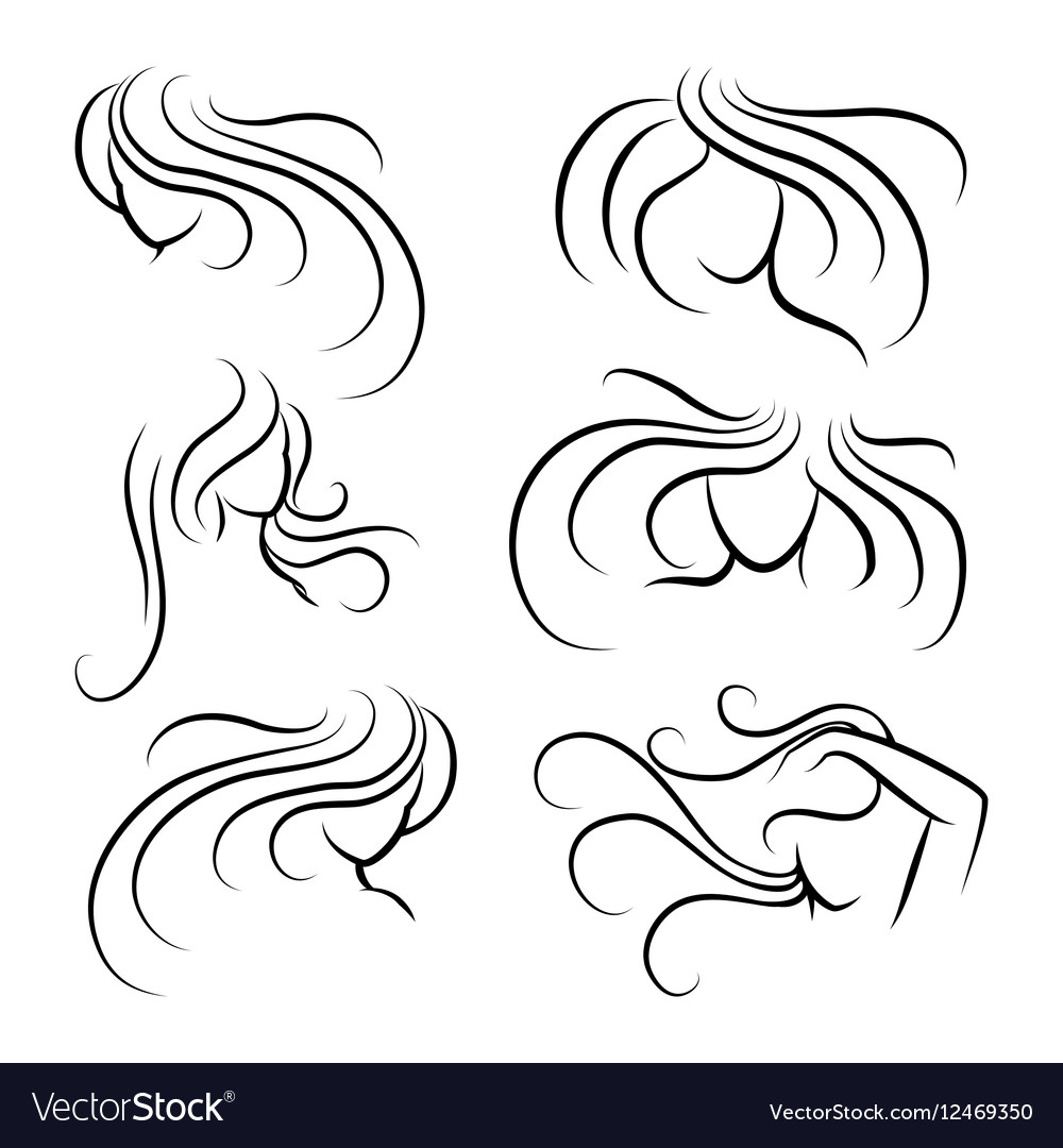 Woman head silhouettes with long hair vector image