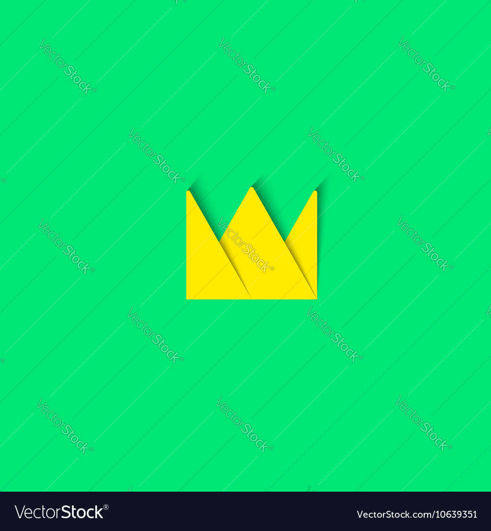 Crown logo paper material design element princess vector image