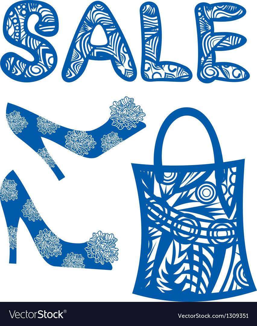Sale shoes bag vector image