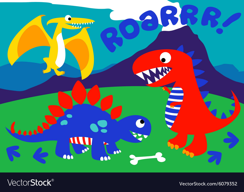 3 Cute dinosaurs standing on a hill vector image