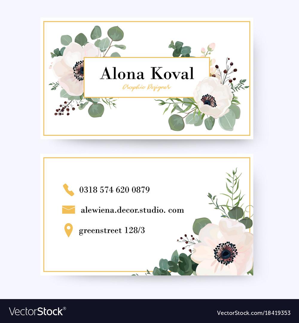 Floral business card design vintage anemone Vector Image