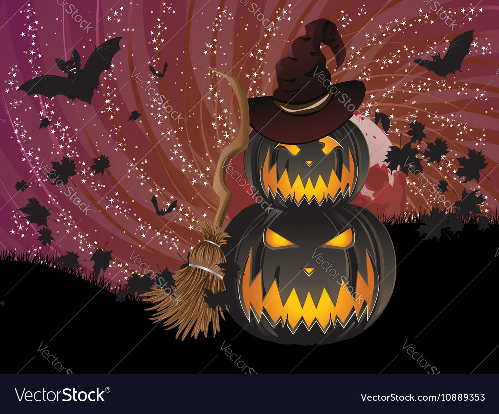 Pumpkins and Red Moon6 vector image