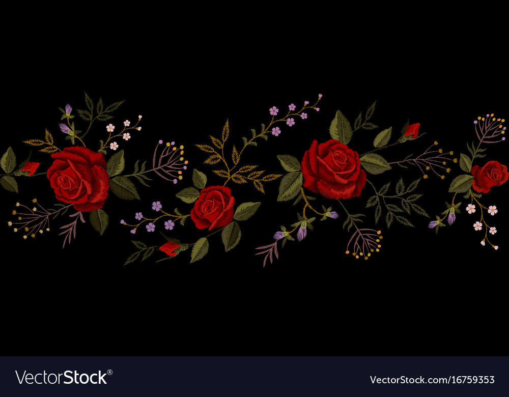 Red rose embroidery on black background satin vector image