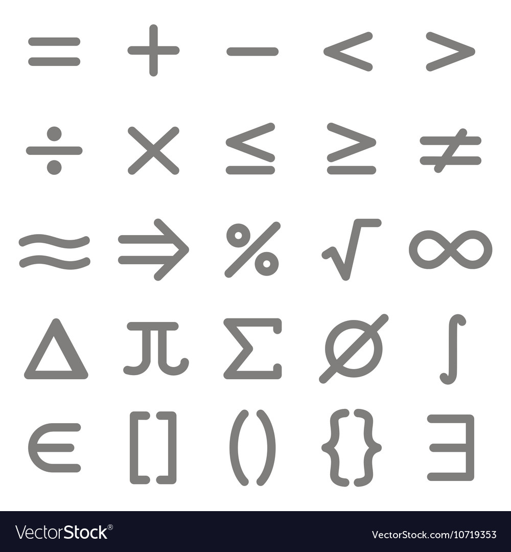Set of monochrome icons with mathematical symbols vector image set of monochrome icons with mathematical symbols vector image buycottarizona